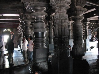 Inside a temple at Belur